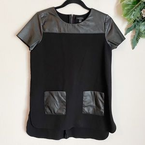 Ann Taylor faux leather accent top size S